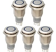 5Pcs 16Mm Round Button Switch Blue Led 12V For Car Vehicle