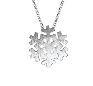 Lureme®Korean Fashion 925  Sterling Silver Drawbench Snowflake Pendant Necklace