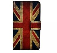caja de cuero de la vendimia patrón de la bandera del Reino Unido billetera magentic para Samsung Galaxy s7