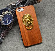 pear bois naturel lion modèle de porte heurtoir avec support pour iphone 6 / 6s