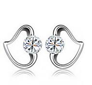 Lureme®  Korean Fashion 925  Sterling Silver Zircon Peach Heart Earrings