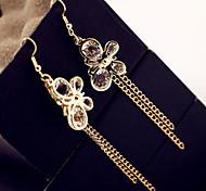Han EditionWomen Alloy Set Auger Butterfly Lock Chain Tassel Earrings