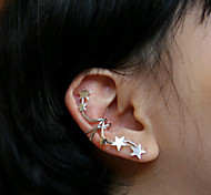 HUALUO@Earring Jewelry Girls No Pierced Ear Clip Diamond Five-pointed Star [single Price]