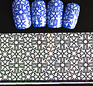 5pcs 20*4cm 2016 New Japanese White  Series Nail Art Intertwining Flower and Star Design  Foils DIY Nail Sticker STZ Jw6