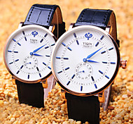 Couple's Round Dial Fashion Life Waterproof Dress Watch (Assorted Colors)
