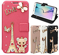 For Samsung Galaxy Case Card Holder / Rhinestone / with Stand / Flip / Magnetic Case Full Body Case Eiffel Tower PU Leather SamsungA8 /