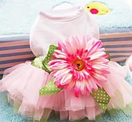 Perros Vestidos Rosado Verano / Primavera/Otoño Flores / Botánica / Lazo Moda