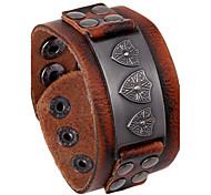 Punk European Middle Ages Shield Pattern Leather Bracelets 1pc