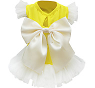 Dog Dress Beige / Black-White Spring/Fall Bowknot Fashion
