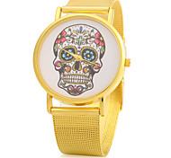 Women's Skull Design Gold Alloy Band Quartz Wristwatch Cool Watches Unique Watches