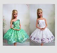 Barbie Doll-Abiti-Informale- diRaso / Pizzo-Bianco / Verde chiaro-Abiti