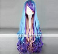 peruca lolita inspirado pelo punk cor azul e roxo e rosa mista