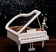 Piano Shape For Elise Music Box Plastic White / Gold