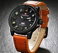 Men's Military Fashion 3D Analog Date Day Leather Band Quartz Watch Wrist Watch Cool Watch Unique Watch
