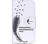 à motifs en cuir étui portefeuille pour ipod touch 5/6 avec support - plumes et devis
