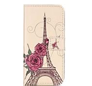rosa e torre de ferro padrão de capa de couro pu com slot para cartão e ficar para iPhone 6 6s / iphone