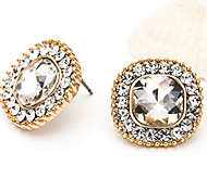 Square Diamond Zircon Environmental Material Quality Stud Earrings Jewelry for Wedding Party(Rose Gold)