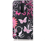Flower and Butterfly Magnetic PU Leather wallet Flip Stand Case cover for LG K7 LG Tribute 5