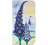 Purple Flower PU leather with Stand Case for Samsung S7
