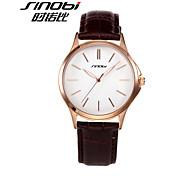 SINOBI High Quality Watches Shop Mens Leather Quartz-watch Luxury Brand Males Rose Gold Steel Wrist Watch Gents Clock
