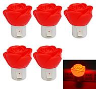 Jiawen 1w роза форма 80lm красный светодиод небольшой ночной свет (5pcs / AC 220V)