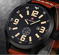Men's Military Fashion Analog Date Day Leather Band Quartz Watch