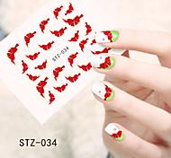1pcs  Water Transfer Nail Art Stickers Fashion Lips Cat Flower Bow-knot  Sponge Bob Nail Art Design STZ31-35