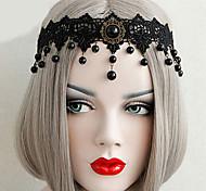 Jóias Gótica Decoração de Cabelo Inspiração Vintage Preto Lolita Acessórios Peça para Cabeça Rendas Para Feminino Renda