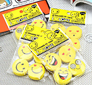 5PCS Smiling Face Rubber Creative Expression Rubber Cute Cartoon Rubber(Style random)