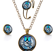 Lureme® Time Gem Series Simple Vintage Style Butterfly and Clock Pendant Necklace Stud Earrings Bangle Jewelry Sets