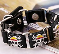 Fashion Alloy One Piece Pattern Inset Genuine Leather Linked Bracelet