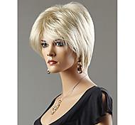 жен. Короткий Прямые Искусственные волосы Машинное плетение Без шапочки-основы Парик из натуральных волос