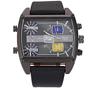 Men's Military Fashion Big Size Three Time Zones Leather Band Quartz Watch Cool Watch Unique Watch