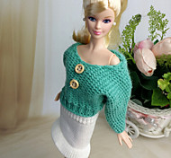 Barbie Doll White / Green Casual Woolen Dresses Skirts / Tops