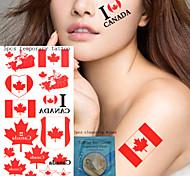 5Pcs  National Flag  Temporary Tattoos +1Pcs Cleansing Wipes  China  Canada   U.S.A   The Republic Of Korea Design