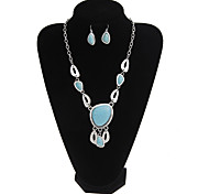 Europe And The United States National Style Retro Turquoise Silver Oval Jewelry Set
