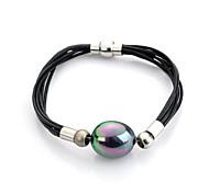 Bracelet Chaînes & Bracelets / Bracelets d'amitié / Bracelets en cuir / Bracelet de survie / Bijoux gothique Perle / Cuir / Plaqué argent