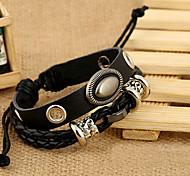 Vintage Alloy Ellipse Inset Genuine Leather Beads Knitting Bracelet