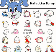 1pcs Nail sticker Bunny
