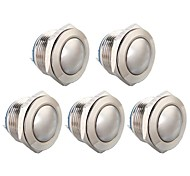 5Pcs 19Mm Round Button Switch 12V For Car Vehicle Silver