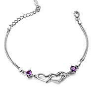 Women's Bracelet Sterling Silver Plated  Sample AAA Zircon Heart Chain Bracelet Wedding for BrideImitation Diamond Birthstone