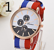 Ladies' Watch Fake Three Eye Hand Geneva Nylon With Striped Quartz Watch