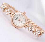 Femme Montre Tendance Bracelet de Montre Quartz Imitation de diamant Plaqué Or Rose Alliage Bande Fleur Elégantes Or Rose Or Rose