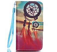 cartera de cuero de la PU caso del soporte con correa y las ranuras para tarjeta para el iPhone SE / 5 / 5s - puesta de sol modelo ideal