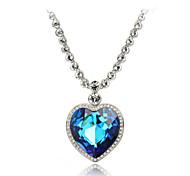 T&C Women's Romantic Titanic 18k Rose Gold Plated The Heart of Ocean Austrian Big Blue Crystal Pendant Necklace