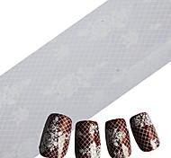 100cmx4cm White Lace Nail Designs 2016 Grids Nail Art Foils Stickers Adhesive Films Nail Art Sticker Manicure Tools