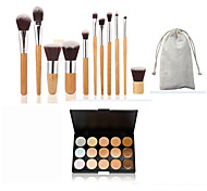 11pc Bamboo Handle and​ Nylon Hair Cosmetic Makeup Brush Set and 15 Colors Concealer