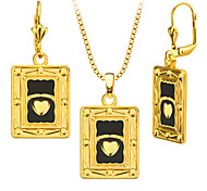 18k Gold Plated Heart Shape Block Necklace&Earrings Jewelry Set for Women Gift Wholesale S20158