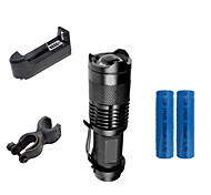 ZK50 Mini 2000LM 3 Mode CREE Q5 LED Zoomable Focusing Adjustable Flashlight Torch Light Lamp Suit