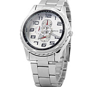 Men's Fashion Dial Silver Steel Band Quartz Watch Wrist Watch Cool Watch Unique Watch